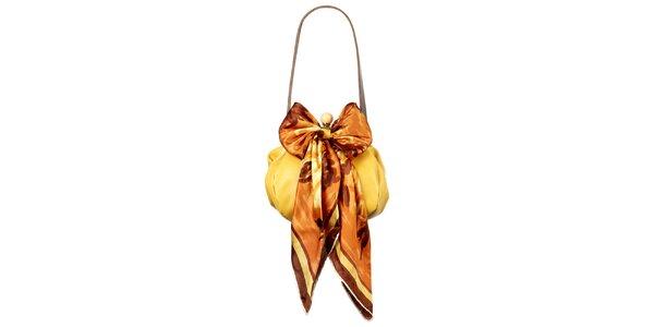 Dámska žltá kožená kabelka so šatkou Liedownithinkiloveyou