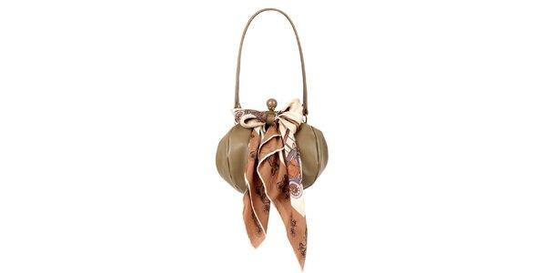 Dámska hnedo-béžová kožená kabelka so šatkou Liedownithinkiloveyou