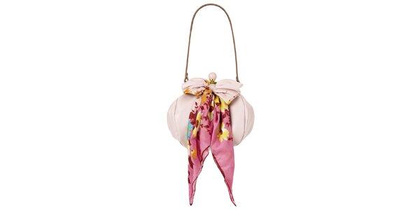 Dámska svetlo ružová kožená kabelka so šatkou Liedownithinkiloveyou