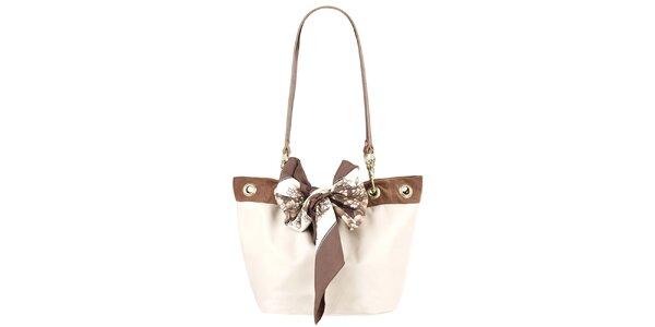 Dámska krémovo-hnedá kabelka s dvomi ušami Liedownithinkiloveyou