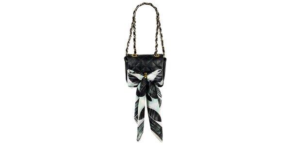 Dámska malá čierna prešívaná kabelka so šatkou Liedownithinkiloveyou