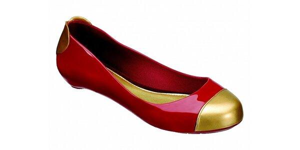 Dámske červené baleríny Melissa so zlatými detailami