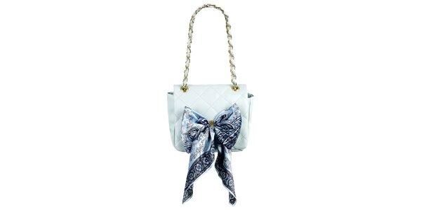 Dámska malá svetlo modrá prešívaná kabelka so šatkou Liedownithinkiloveyou