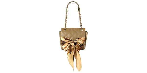 Dámska malá hnedá prešívaná kabelka so šatkou Liedownithinkiloveyou