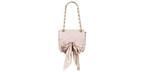 Dámska púdrovo ružová prešívaná kabelka so šatkou Liedownithinkiloveyou