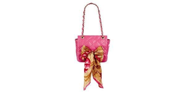 Dámska ružová prešívaná kabelka so šatkou Liedownithinkiloveyou