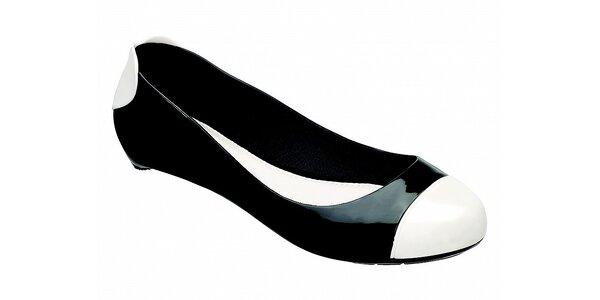 Dámske čierne baleríny Melissa s bielymi detailami