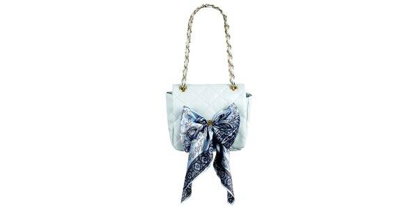 Dámska svetlo modrá prešívaná kabelka so šatkou Liedownithinkiloveyou