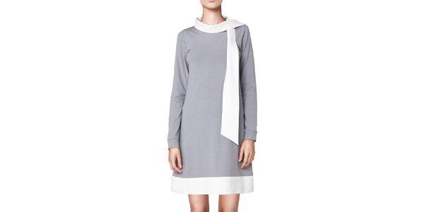 Dámske šedé šaty s bielymi lemami Yuliya Babich