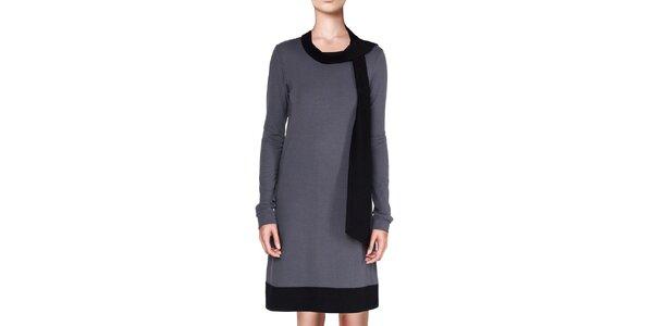 Dámske šedé šaty s čiernymi lemami Yuliya Babich