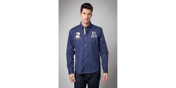 Pánska tmavo modrá košeľa s nášivkami Valecuatro