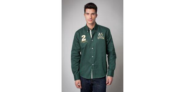 Pánska tmavo zelená košeľa s nášivkami Valecuatro