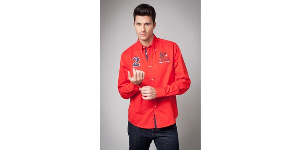 Pánska červená košeľa s nášivkami Valecuatro