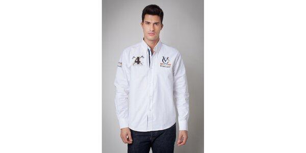 Pánska biela košeľa s nášivkami Valecuatro