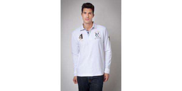 Pánske biele polo tričko s dlhým rukávom Valecuatro