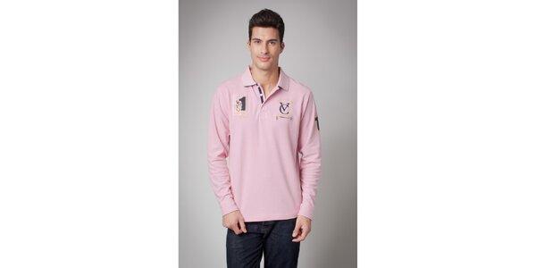 Pánske ružové polo tričko s dlhým rukávom Valecuatro