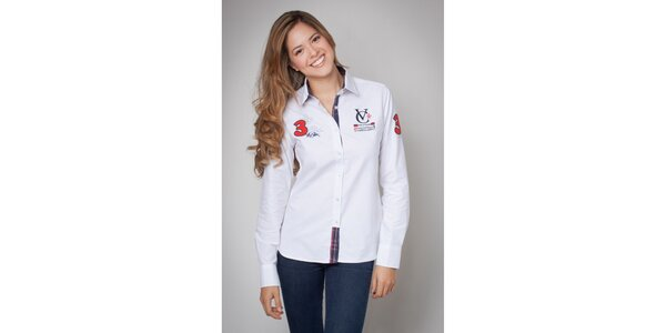 Dámska biela košeľa s nášivkami Valecuatro