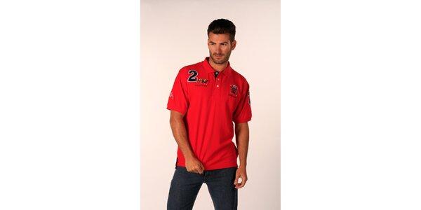 Pánske ohnivo červené tričko Valecuatro s nášivkami