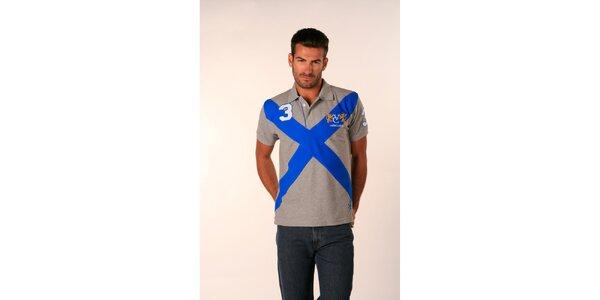 Pánske šedé polo tričko Valecuatro s modrým X