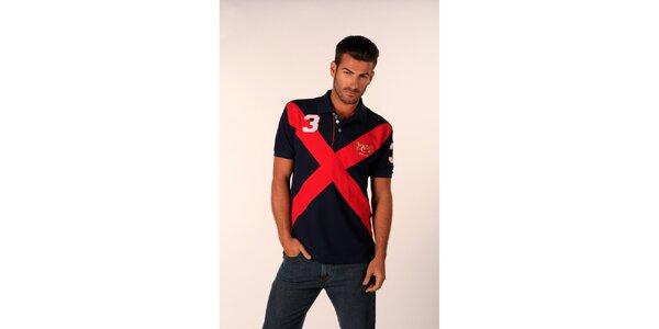 Pánske temno modré polo tričko Valecuatro s červeným X