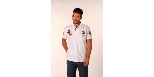 Pánske biele polo tričko Valecuatro s číselnými nášivkami