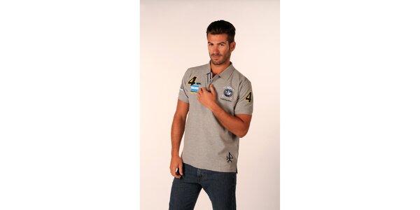 Pánske šedé polo tričko Valecuatro s farebnými nášivkami