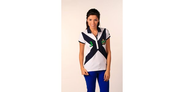 Dámske snehobiele polo tričko Valecuatro s farebným X