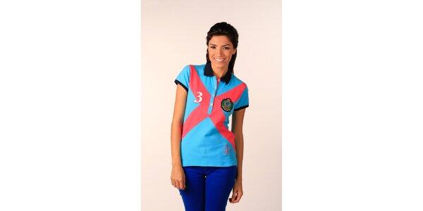 Dámske blankytno modré polo tričko Valecuatro s farebným X
