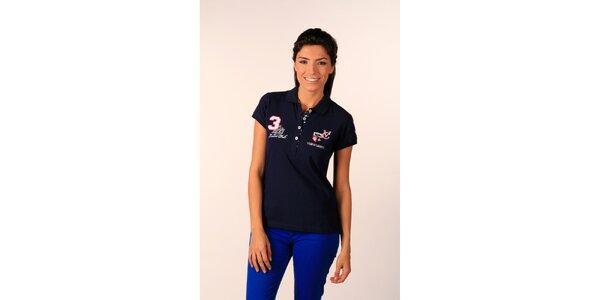 Dámske tmavo modré polo tričko Valecuatro s farebnými nášivkami