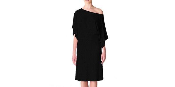 Dámske čierne šaty s voľným ramenom Yuliya Babich