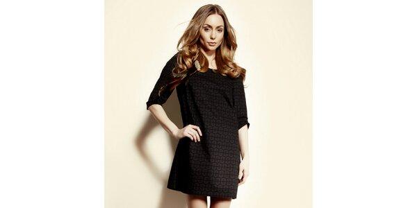 Dámske čierne vzorované šaty Andrea G
