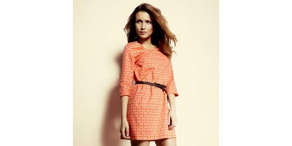 Dámske oranžovo vzorované šaty Andrea G