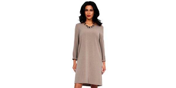 Dámske béžové šaty s holým chrbátom Andrea G Design