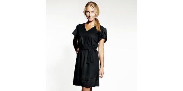 Dámske čierne šaty s výšivkou Andrea G