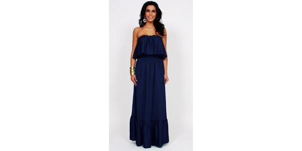 Dámske tmavo modré dlhé šaty Andrea G. Design