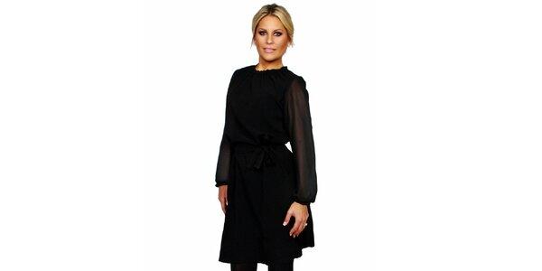 Dámske čierne šaty s opaskom Andrea G Design