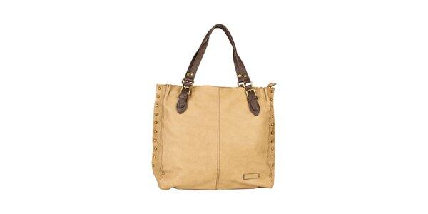 Dámska béžová kabelka s hnedými ušami Sisley