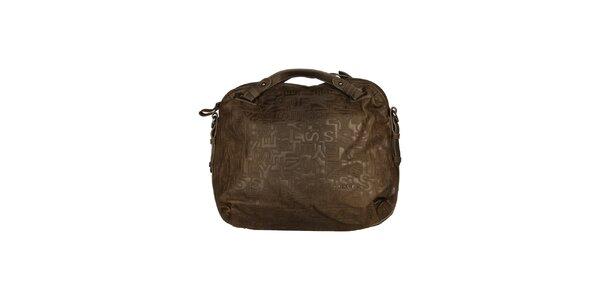 Dámska hnedá kabelka s reliéfom Sisley