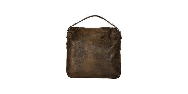 Dámska hnedá kabelka so vzorom Sisley