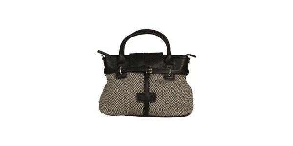 Dámska kabelka s čierno-bielym vzorom Sisley