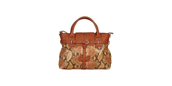 Dámska karamelovo hnedá kabelka s hadím vzorom Sisley