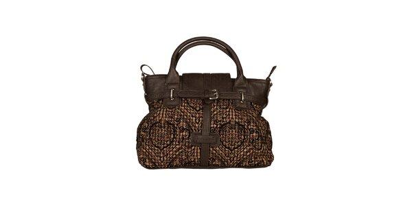 Dámska hnedá kabelka so vzorovanou látkou Sisley