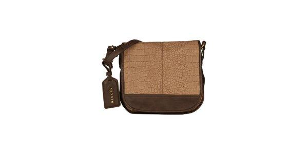 Dámska hnedá messenger kabelka Sisley