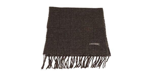 Čierno-šedý kockovaný šál s kohúťou stopou Pierre Cardin