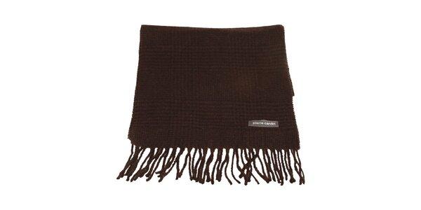 Hnedo-čierny kockovaný šál s kohúťou stopou Pierre Cardin