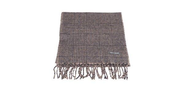 Béžovo-šedý kockovaný šál s kohúťou stopou Pierre Cardin