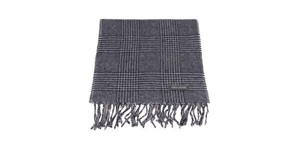 Modro-šedý kockovaný šál s kohúťou stopou Pierre Cardin
