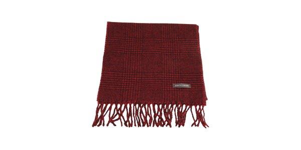 Červeno-čierny kockovaný šál s kohúťou stopou Pierre Cardin