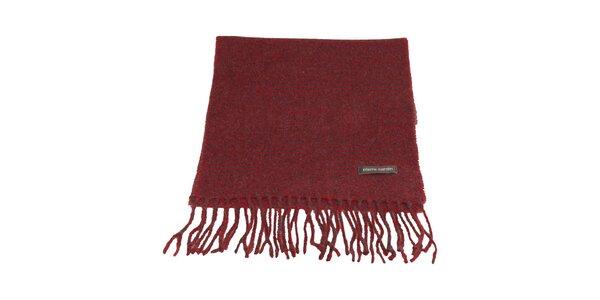 Červeno-šedý kockovaný šál s kohúťou stopou Pierre Cardin