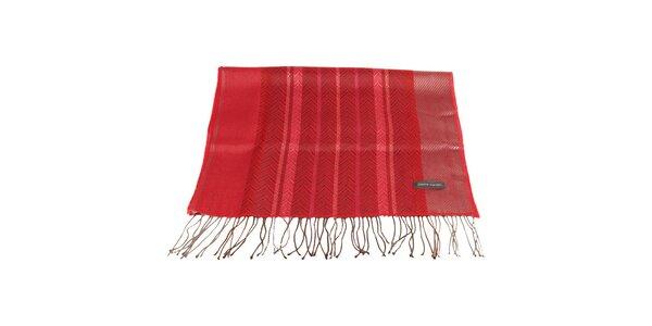 Dámsky červený šál so vzorom Pierre Cardin